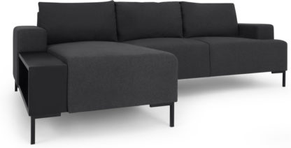 An Image of MADE Essentials Oskar Left Hand Facing Chaise End Corner Sofa With Table, Sterling Grey