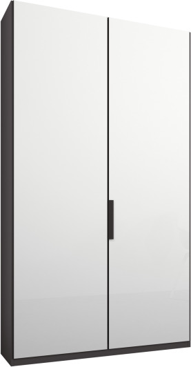 An Image of Caren 2 door 100cm Hinged Wardrobe, Graphite Grey Frame, White Glass Doors, Standard Interior