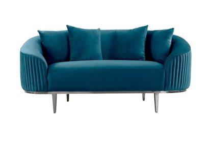 An Image of Ella Two Seat Sofa - Peacock - Polished chrome base