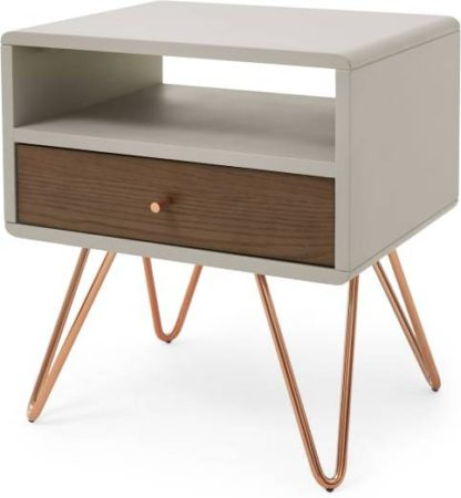 An Image of Ukan Bedside Table, Grey and Dark Stain Oak