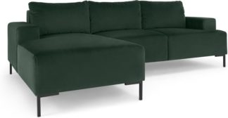 An Image of Frederik 3 Seater Left Hand Facing Compact Corner Chaise End Sofa, Autumn Green Velvet