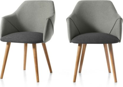 An Image of Set of 2 Lule Carver Dining Chairs, Marl and Hail Grey and Oak