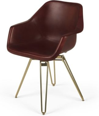 An Image of Hektor Tub Office Chair, Oxblood and Brass