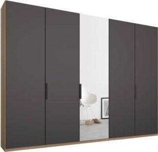 An Image of Caren 5 door 250cm Hinged Wardrobe, Oak Frame, Matt Graphite Grey & Mirror Doors, Premium Interior