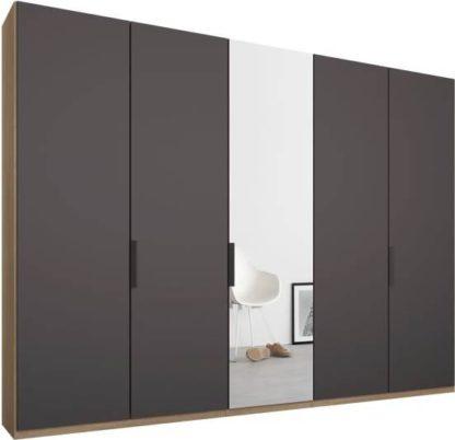 An Image of Caren 5 door 250cm Hinged Wardrobe, Oak Frame, Matt Graphite Grey & Mirror Doors, Standard Interior