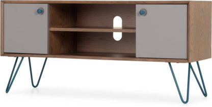 An Image of Dotty Wide TV Stand, Dark Stain Oak and Grey