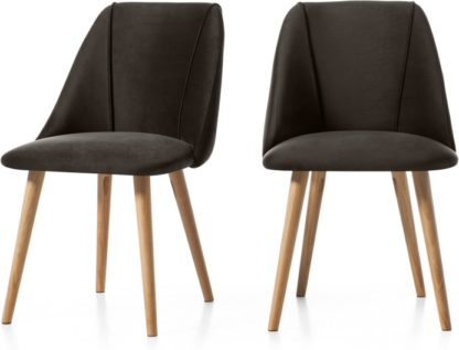 An Image of Set of 2 Lule Dining Chairs, Otter Grey Velvet and Oak