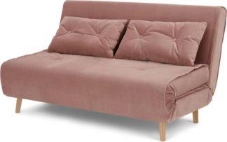 An Image of Haru Large Double Sofa Bed, Vintage Pink Velvet