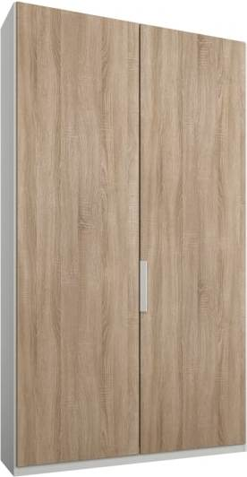 An Image of Caren 2 door 100cm Hinged Wardrobe, White Frame, Oak Doors, Premium Interior