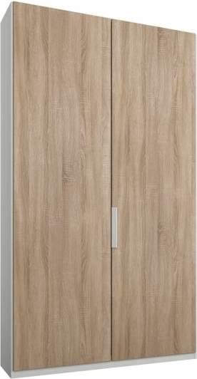 An Image of Caren 2 door 100cm Hinged Wardrobe, White Frame, Oak Doors, Standard Interior