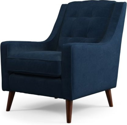An Image of Content by Terence Conran Tobias, Armchair, Plush Indigo Velvet, Dark Wood Leg