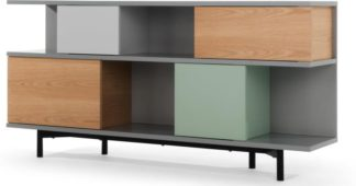 An Image of Fowler Low Shelving Unit, Multicolour Oak