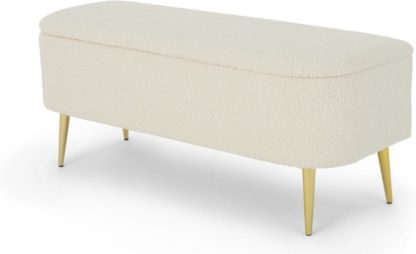 An Image of Abel Ottoman Storage Bench, Natural Faux Sheepskin & Brass