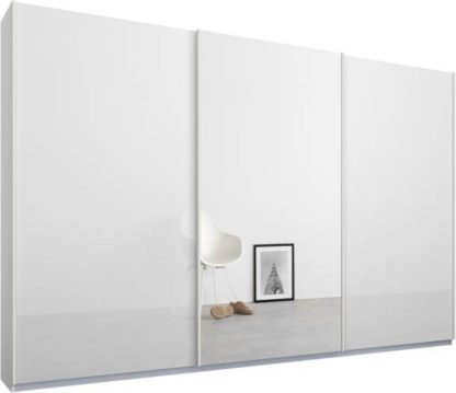 An Image of Malix 3 door 270cm Sliding Wardrobe, White frame,White Glass & Mirror doors , Premium Interior