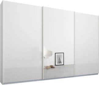An Image of Malix 3 door 270cm Sliding Wardrobe, White frame,White Glass & Mirror doors, Standard Interior