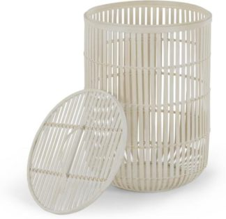 An Image of Kurino Bamboo Laundry Basket with Lid, Natural