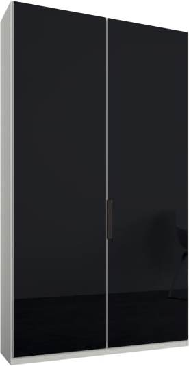 An Image of Caren 2 door 100cm Hinged Wardrobe, White Frame, Basalt Grey Glass Doors, Classic Interior