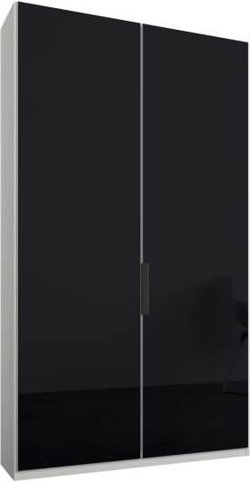 An Image of Caren 2 door 100cm Hinged Wardrobe, White Frame, Basalt Grey Glass Doors, Standard Interior