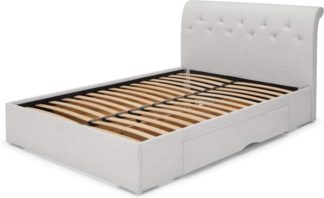 An Image of Linnell King Size Bed with Drawer Storage , Snow Grey Weave
