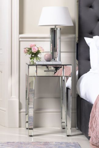 An Image of ZOE Mirrored Bedside Lamp Table with Single Drawer