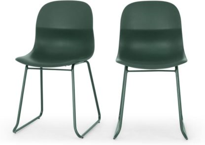 An Image of MADE Essentials Set of 2 Farah Dining Chairs, Green