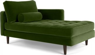 An Image of Scott Right Hand Facing Chaise Longue, Cotton Velvet Grass