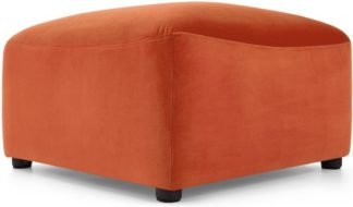 An Image of Juno Modular Ottoman, Flame Orange Velvet