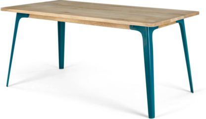 An Image of Edny 6 Seat Dining Table, Light Mango Wood and Teal
