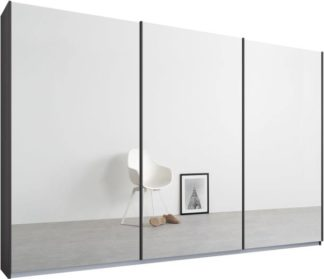 An Image of Malix 3 door 270cm Sliding Wardrobe, Graphite Grey frame,Mirror doors, Standard Interior