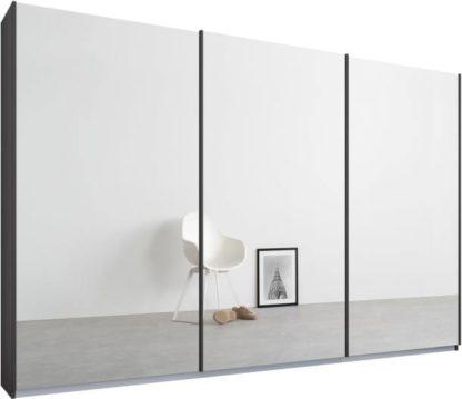 An Image of Malix 3 door 270cm Sliding Wardrobe, Graphite Grey frame,Mirror doors, Standard Interior