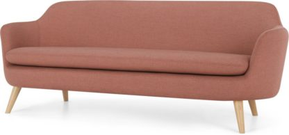 An Image of Nya 3 Seater Sofa, Rust Pink Weave