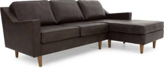An Image of Dallas Right Hand Facing Chaise End Corner Sofa, Oxford Brown Premium Leather