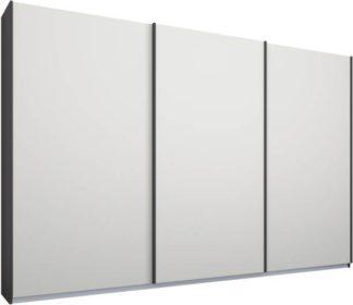 An Image of Malix 3 door 270cm Sliding Wardrobe, Graphite Grey frame,Matt White doors, Standard Interior