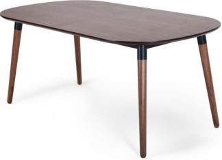 An Image of Edelweiss 6-8 Seat Oval Extending Dining Table, Walnut and Black