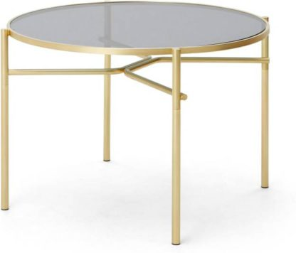 An Image of Stanley 4 Seat Round Dining Table, Glass and Metal