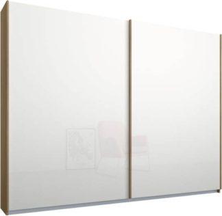 An Image of Malix 2 door 225cm Sliding Wardrobe, Oak frame,White Glass doors, Standard Interior