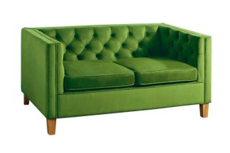 An Image of Miasto 2 Seater Sofa Emerald Green Velvet