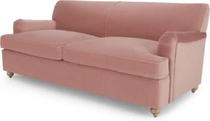 An Image of Orson 3 Seater Sofa Bed, Vintage Pink Velvet