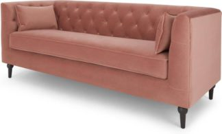 An Image of Flynn 3 Seat Sofa, Blush Pink Velvet