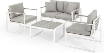 An Image of Catania Garden Lounge Set, White And Polywood