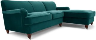 An Image of Orson Right Hand Facing Chaise End Corner Sofa, Seafoam Blue Velvet