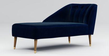 An Image of Custom MADE Margot Left Hand Facing Chaise,Dark Navy Cotton Velvet with Light Wood Brass Leg