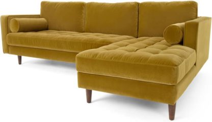 An Image of Scott 4 Seater Right Hand Facing Chaise End Corner Sofa, Gold Cotton Velvet