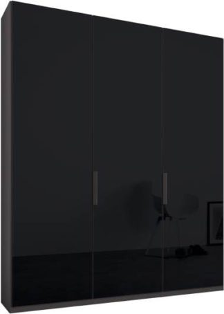 An Image of Caren 3 door 150cm Hinged Wardrobe, Graphite Grey Frame, Basalt Grey Glass Doors, Standard Interior