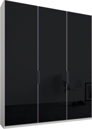 An Image of Caren 3 door 150cm Hinged Wardrobe, White Frame, Basalt Grey Glass Doors, Classic Interior