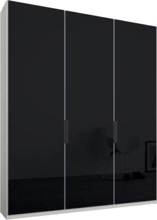 An Image of Caren 3 door 150cm Hinged Wardrobe, White Frame, Basalt Grey Glass Doors, Standard Interior