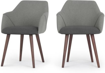 An Image of Set of 2 Lule Carver Dining Chairs, Marl and Hail Grey