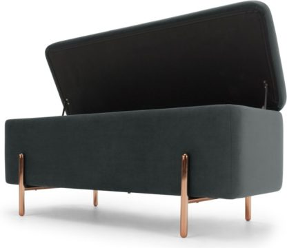 An Image of Asare upholstered storage bench, Midnight Grey Velvet & Copper