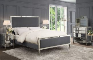 An Image of Antoinette Mirrored Bed - Storm Grey