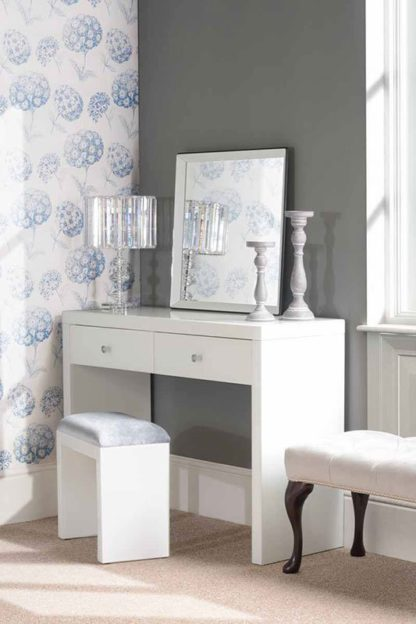 An Image of APHRODITE White Glass Dressing Table with 2 Legs